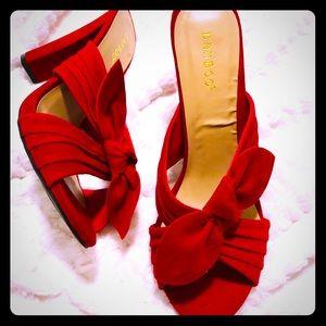 Red velvet bow tie heels